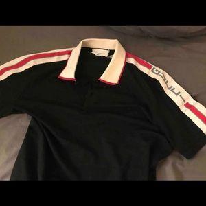 Gucci men's black 100% cotton polo collar shirt